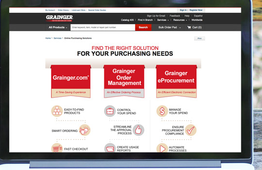 Grainger Online Purchasing Solutions Landing Pages