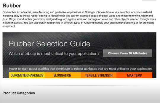 Rubber Selection Guide Grainger Rubber Category
